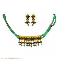 22k Gold Set With Precious Stones ( Combination Necklace Set )