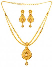 22 Kt Gold Meenakari Necklace Set