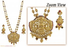 22K Gold Designer Temple Jewelry ( Antique Necklace Sets )
