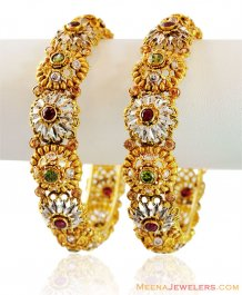 22K Gold Stones Kada ( Antique Bangles )