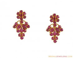 22k Gold Earrings with Ruby ( Precious Stone Earrings )