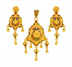22Kt Gold Peacock Pendant Set ( Gold Pendant Sets )