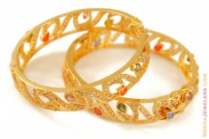 Gold Antique Bangle with Colored Stones (1 Pc only) ( Antique Bangles )