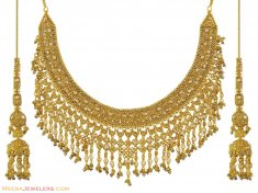 22K Antique Bridal Necklace Set ( Antique Necklace Sets )