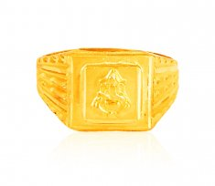 22K Gold Ganesh Jee Mens Ring ( Mens Gold Ring )