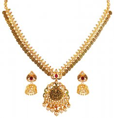 22kt Gold Temple Necklace Set ( Gold Designer Sets )