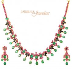 Emerald, Ruby, Sapphire Necklace ( Combination Necklace Set )