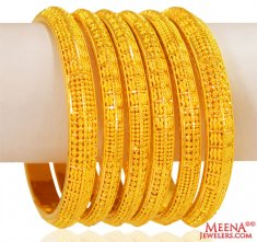 22K Gold Bangles (6 pcs ) ( Set of Bangles )