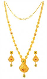 22k Gold Long Necklace Set ( Bridal Necklace Sets )