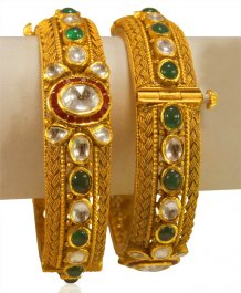 22KT Gold Antique Designer Kada 2Pc ( Antique Bangles )