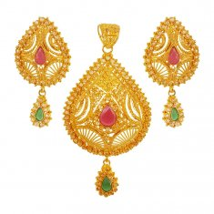 22K Gold Ruby Emerald Pendant Set ( Gold Pendant Sets )