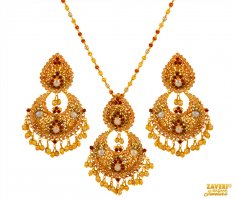 22 Kt Gold Ruby, Pearls Pendant Set ( Fancy Pendant Set )