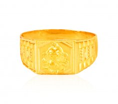 22K Gold Ganesh Mens Ring ( Religious Rings )