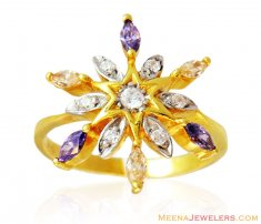 Colored Stones Star Shaped Ring 22k