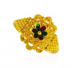 22K Gold Meenakari Ring ( Ladies Gold Ring )