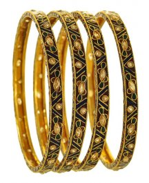 22K Gold Antique Bangle Set (4Pc) ( Antique Bangles )