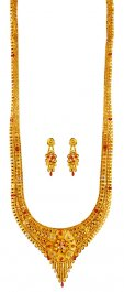 Tricolor 22K Necklace Earring Set