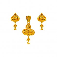 22 Kt Gold Meenakari Pendant set ( Gold Pendant Sets )