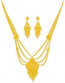 22KT Gold Long Necklace Set ( Bridal Necklace Sets )