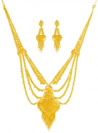22K Gold Necklace and Earrings Set ( Bridal Necklace Sets )