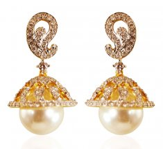 18kt Diamond Jhumki Earrings ( Diamond Earrings )