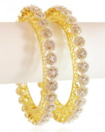 Diamond 18Kt Gold Bangle 2Pc ( Diamond Bangles )
