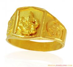 22K Ganesh Jee Mens Ring ( Religious Rings )