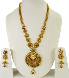 22Kt Antique Bridal Necklace Set ( Bridal Necklace Sets )