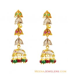 22K Emerald Ruby Long Earrings  ( Precious Stone Earrings )