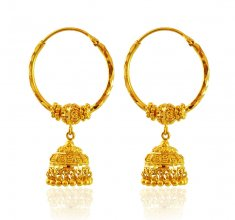 Filigree Hoop Earrings 22K Gold ( Hoop Earrings )