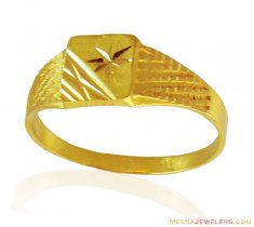 Fancy Thin Mens Ring 22k Gold ( Mens Gold Ring )