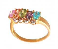 Gold Ring with Colored Stones ( Ladies Signity Rings )