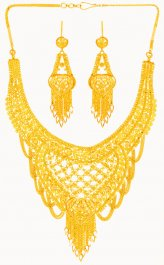 22 Karat Gold Necklace Earring Set ( 22 Kt Gold Sets )
