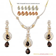 22k Gold Changeable Stones Set  ( Precious Stone Sets )