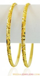 Machine Cut Gold Bangles (2 pc) ( Gold Bangles )