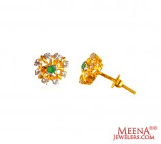 22kt Gold Emerald Earrings