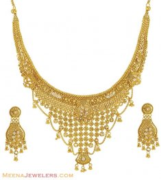 22k Antique With Polki Set ( Antique Necklace Sets )