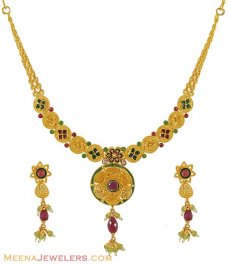 22K Designer Necklace Set ( Antique Necklace Sets )
