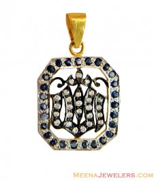 Gold Pendant with Sapphires 22k