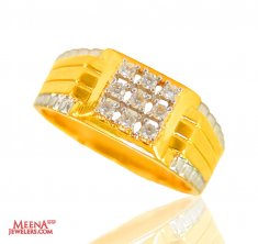 22 Karat Gold Mens CZ Ring ( Mens Signity Rings )