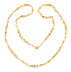 Fancy Two Tone Gold Chain (26 IN) ( 22Kt Long Chains (Ladies) )
