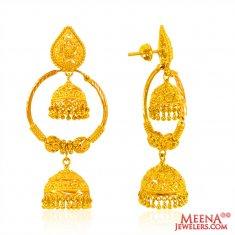 22 Kt Gold Hoops with Jhumki ( Hoop Earrings )