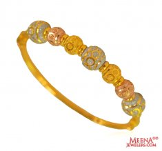 22 Karat Gold Tri Color  Kada