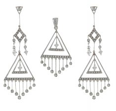 18K Designer Pendant Set ( White Gold Pendant Sets )