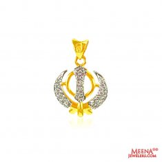 22 kt gold Khanda pendant with CZ ( Khanda Pendants )