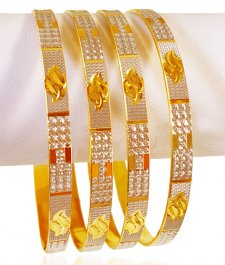22K Gold Two Tone Bangle Set(4pcs) ( Two Tone Bangles )