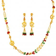 22K Gold Ruby Emerald Pearls Set
