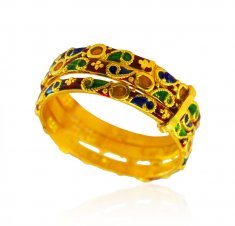 22kt Gold Meenakari Ring ( Ladies Gold Ring )