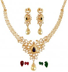 18K Gold Diamond  Necklace Set