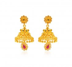 22 Karat Gold Jhumkhi Earrings ( Exquisite Earrings )